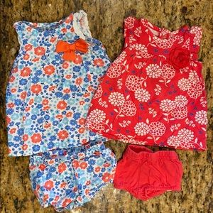 Lot of 2 Newborn Baby Girls Dresses / Outfits EUC